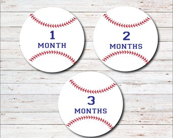 Monthly Baby Stickers, Milestone Stickers, Month to Month, Onesie Sticker, Monthly Labels, Baby Boy, Baby Shower Gift, Baseball, Sports