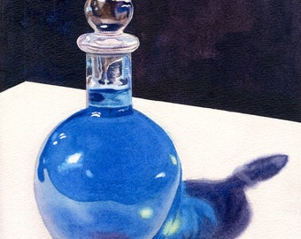 Blue Bottle Watercolor Painting Print by Cathy Hillegas, 11x14, glass bottle watercolor print, still life painting, blue glass bottle art