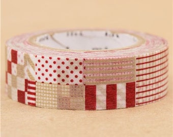 193868 mt Washi Masking Tape deco tape squares beige red white