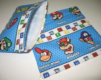 2pc Set Reusable Sandwich and Snack Bag Nintendo Stripe