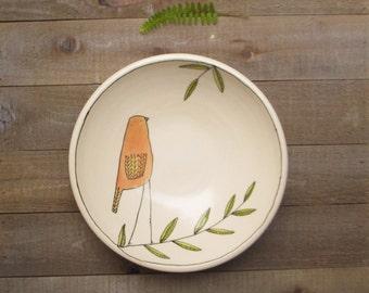 Ceramic bird bowl, orange bird bowl, small bird bowl,  bird with leaf hand drawn design.
