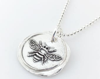 Honey Bee | Wax Seal Inspired Necklace - handmade, fine silver