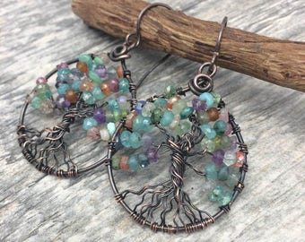 Tree of Life Wire Wrap Earrings with Genuine Multi Colored Gemstone Hoops, Free Shipping,Anniversary, Birthday, Graduation, Mothers Day