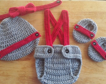Crochet Baby Boy Gray & Red Outfit Photo Prop Newborn Photos Baby Shower Gift  Diaper Cover Booties Newsboy Hat MADE TO ORDER