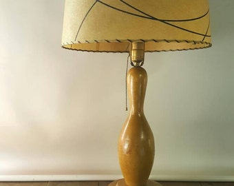Retro Chic Wooden Bowling Pin Lamp with Shade