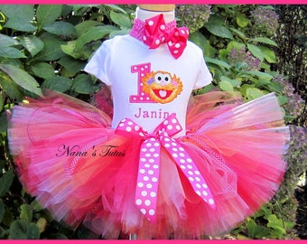 Birthday Zoe with Number, Party Outfit, Polka Dots and Zoe,Sesame Street,Theme Parties in Size 1yr thru 4yrs