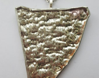 Bold Mirror Textured Copper Foil Wrapped and Soldered Focal Piece Bold Large Pendant Pendent Statement Neclace