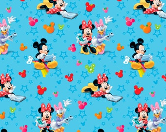 Mickey Minnie & Daisy Playtime Blue Disney Cotton Woven fabric by the yard