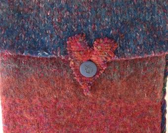 SALE Shoulder bag, felted handbag, wool purse, Bohemian Bag, BF heart hippie boho denim blue red knit Valentine's Day clearance sale i685