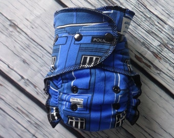 One Size Stay Dry Overnight Fitted Cloth Diaper in Police Box by Soothe Baby