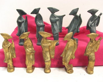 Vintage Lot of 10 Cast Iron Figures Japanese Geisha Girls Figurines Abstract Modern Mid Century
