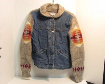 Vintage Pendleton Jean Jacket Sweater Native American Design 1980s Coat Southwest Theme Denim
