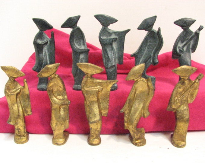 10 Japanese Geisha Girl Figures, Vintage Cast Iron Figurines, Gold and Green Abstract Mid Century Metal Ladies