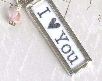 I Love You Necklace, Word Jewelry, Love Charm