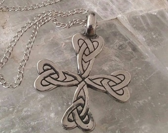 American Pewter Celtic Knot Heart Cross Love Necklace