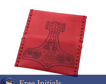 Thor's hammer leather card holder, viking mens wallet, business man gift, custom card case, engraved card case, graduation present, id case