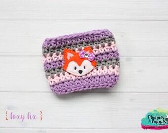 Crochet Coffee Cozy { Foxy Fix } puple, pink, grey , crochet, fox, orange fox, yarn crochet Coffee cup cozie coffee sleeve