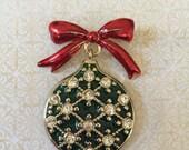 Vintage LC Liz Claiborn Signed Christmas Rhinestone Enamel Tree Ornament  Brooch Pin jewelry gold tone