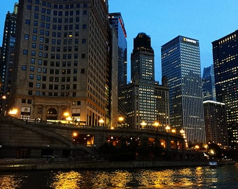 Chicago River and Buildings at Dusk Original Color Photograph Home Decor Gift