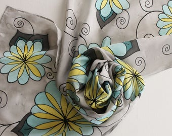 Hand Painted Silk Scarf - Handpainted Scarves Grey Gray Silver Teal Light Blue Yellow Banana Black Flowers Floral Spring Summer