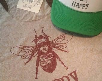 Bee Happy/ Tri-Blend/ Racer Back Tank Top/Bee/Gray/Burgandy/Athletic/Yoga Tank Top/ Gardener/Homesteader/Bee Keeping/Holiday Gift/ Ladies