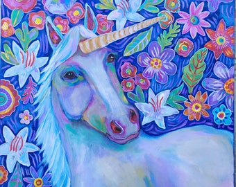 Contemporary Folk Art  Floral Unicorn Painting on Canvas