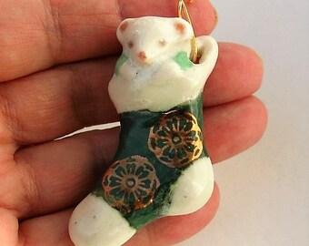 Christmas Mouse Stocking Elegant Ceramic Porcelain Sock Ornament and Pendant