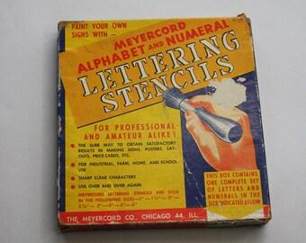 Vintage STENCILS- Meyercord Alphabet and Numeral Lettering Stencils- Heavy Paper Stencil- Mixed Media Collage Supply Ephemera