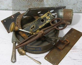 Primitive Lot- Farmhouse Decor- Metal Sieve- Rusted Tongs- Door Plate- Horseshoe Pencil Sharpener- Trinket Lot- Vintage Rustic- R2