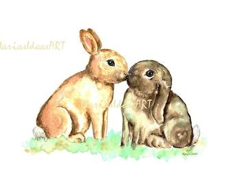 Bunny print, kisses, Bunnies kissing, Rabbit pair, Bunny art, nursery wall art, Rabbit print, bunny print, Marias Ideas