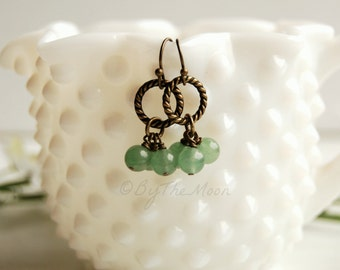 Green Stone Earrings - Aventurine Earrings - Circle Earrings - Rope Circle Earrings - Green Dangle Earrings - Cluster Earrings - Boho