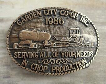 1986 Garden City Co op Belt Buckle Tractor Farmer Farming Kansas Coop Brass
