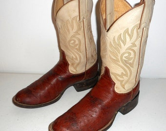 Ostrich Cowboy Boots Mens Size 6.5 EE Extra Wide Justin Country Distressed Womens 8