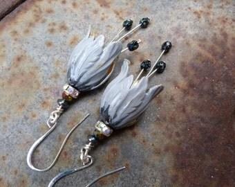 Ombre smoke grey brass tulip earrings