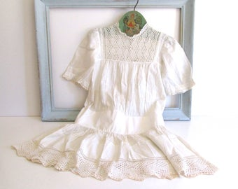 Antique Handmade Baby Dress 1905 White Lace Infant Christening Baptism Dress