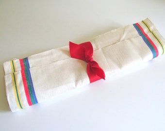 Vintage Tea Towel Fabric, Multi Color Stripe, Natural Color, 5 Yards, Linen Fabric, New Old Stock