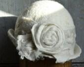 White felt hat 1920s wedding hat  nuno-Felted cloche wool hat felt flapper art deco hat retro hat Bohemian hat downton abbey cloche RESERVED