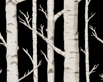 Black and White Trees Fabric - Birch Grove In Moonlight By Willowlanetextiles - Woodland Grove Cotton Fabric By The Yard With Spoonflower