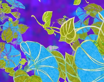 Floral Stained Glass Fabric - Morning Glories By Greenlotus - Tuquoise, Greenery Purple Flowers Cotton Fabric By The Yard With Spoonflower