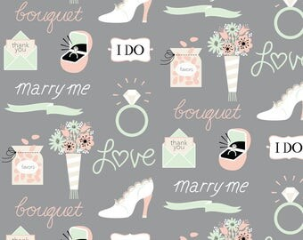 Wedding Proposal Fabric - Marry Me! In Gray By Pinkowlet - Marriage Bride Groom Bachelorette Cotton Fabric By The Yard With Spoonflower
