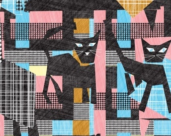 Abstract Geometric Cat Fabric - Cubist Cats By Kociara - Abstract Cat Cotton Fabric By The Yard With Spoonflower