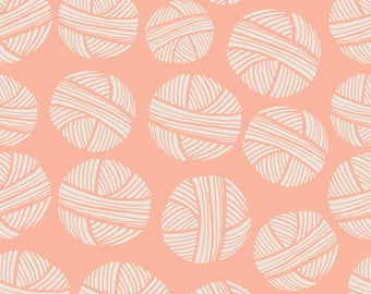 Pink Yarn Fabric - Yarn Balls Pink Peach By Teresamagnuson - Blush Ball of Yarn Cotton Fabric By The Yard With Spoonflower