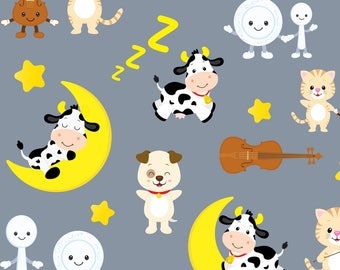 Nursery Rhyme Fabric -Hey Diddle Diddle By Iheartampersands- Cat Dog Cow Moon Gender Neutral Baby Cotton Fabric By The Yard With Spoonflower