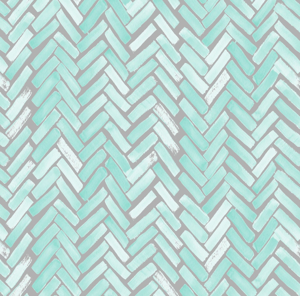 Cool Blue And Green Chevron Fabric Contemporary - Bathtub for ...