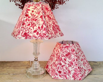 """Red Lamp Shades, Lampshades French General Cotton Fabric, Hex 8"""" high, Washer Top, Custom Orders Welcome"""
