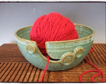 Yarn Bowl with Buttons in Turquoise by misunrie