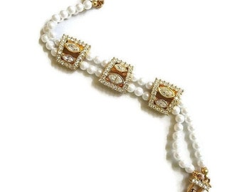 Faux Pearl and Clear Rhinestone Bracelet Vintage Bride