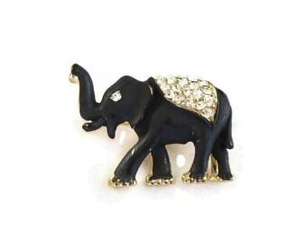 Matte Black Enamel & Clear Rhinestones Elephant Brooch Vintage