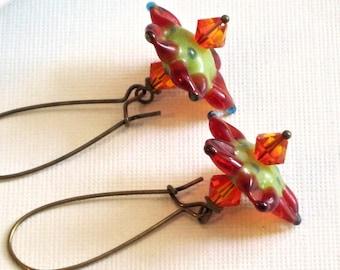 Orange Flower Earrings - Green, Turquoise, Colorful Earrings