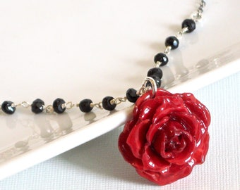 Real Red Rose Necklace - Black Spinel Necklace, Sterling Silver, Real Flower Jewelry, Nature Jewelry